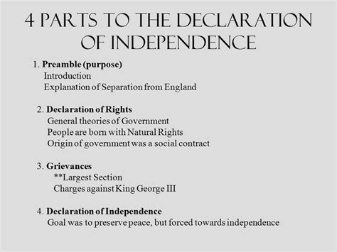 what are the four sections of the declaration of independence early foundations of law and government ppt video online