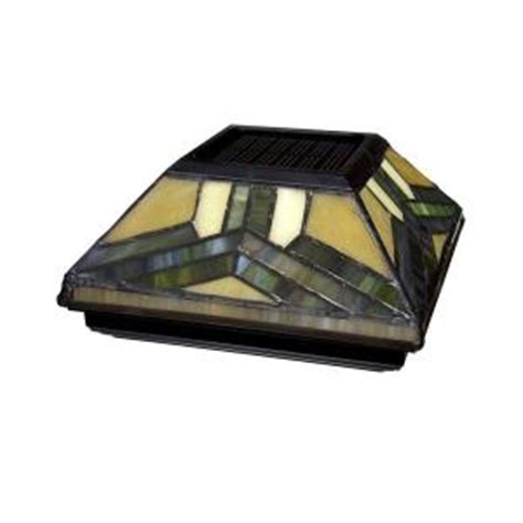 solar post caps home depot 6 in x 6 in solar powered stained glass post cap 511 0014 the home depot