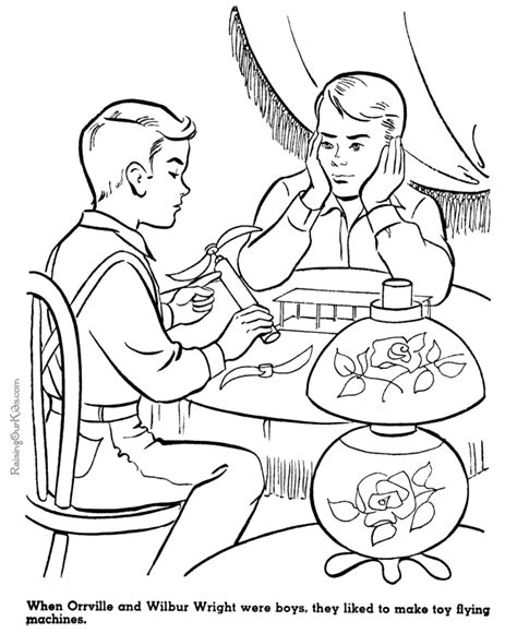 The Wright Brothers American History People For Kids 077 Wright Brothers Coloring Page