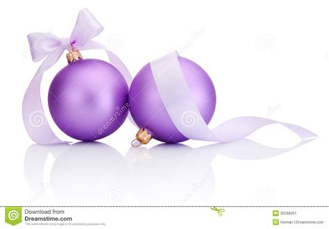 purple christmas ribbon two purple balls with ribbon bow isolated on white stock image image 35568261