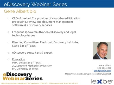State Mba Webinar by A Litigator S Guide To Negotiating Ediscovery Requirements
