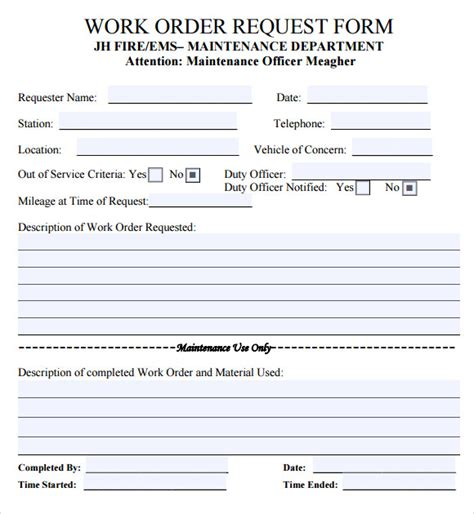 work order form template free sle work order 11 documents in word excel pdf