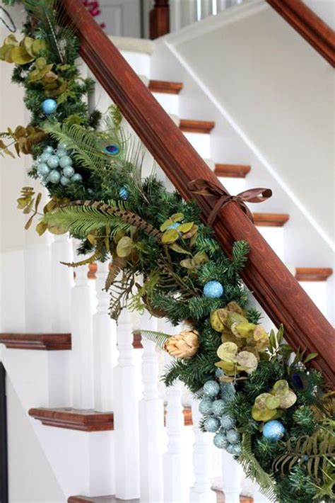 garland for stair banister top 40 staircase garland designs for christmas christmas