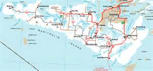 map of manitoulin island ontario canada bicycle tours on manitoulin