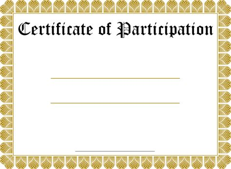 Free Blank Certificates Templates certificate of participation template new calendar template site
