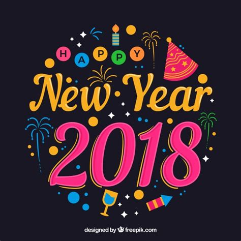 colorful happy new year 2018 colorful and lettering happy new year 2018 vector