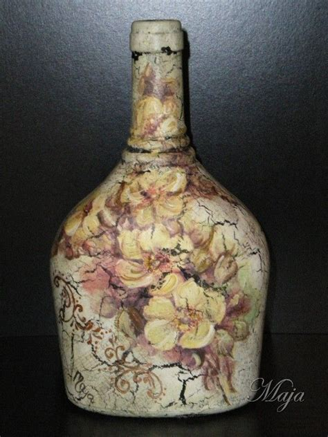 Bottle Decoupage - bottle with decoupage altered bottles jars
