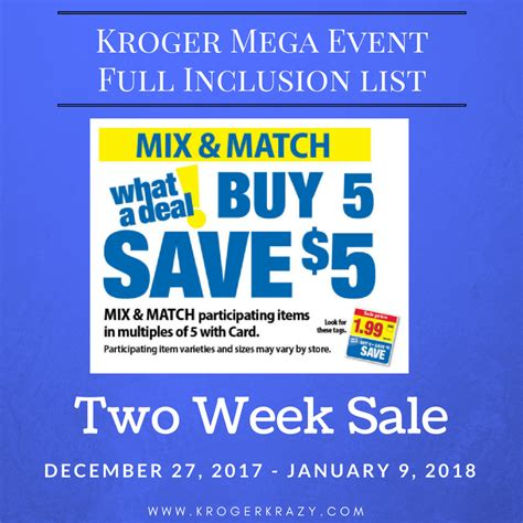 here it is kroger s full inclusions list for their buy 6 kroger buy 5 save 5 mega event full inclusion list 2