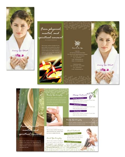 free templates for spa brochures natural day spa massage tri fold brochure template spa