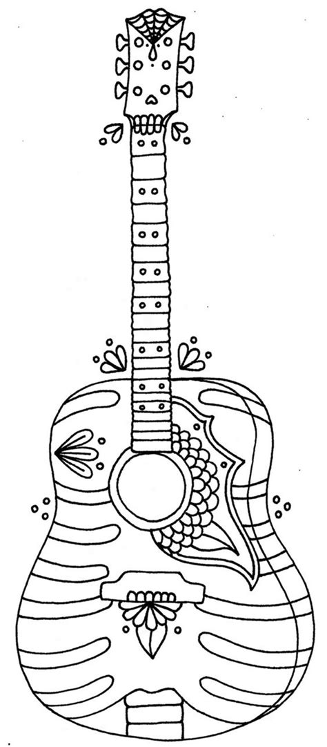 large guitar coloring page 12 free printable adult coloring pages for summer