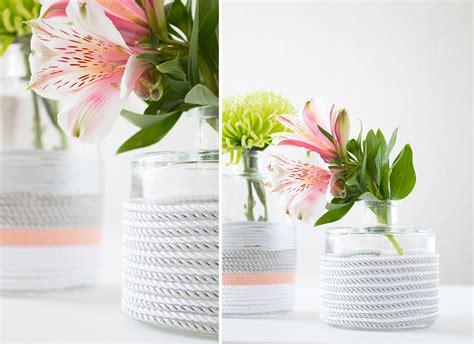 Nice Flower Vases Diy Glasvasen Mit Pastell Kordel Pretty Nice