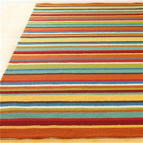 Outdoor Striped Rug Indoor Outdoor Colorful Stripe Hooked Rug