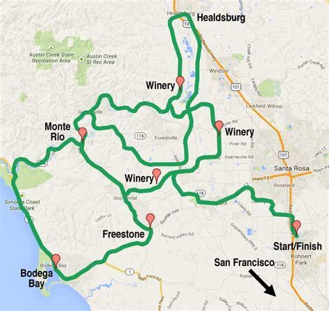 san francisco map valley sonoma wine country and california coast itinerary