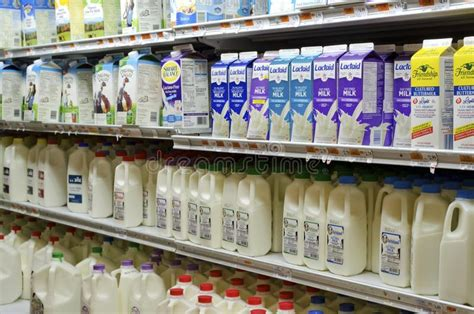 dairy section of supermarket editorial stock photo image