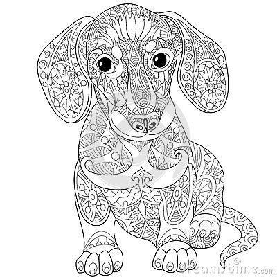dachshund puppies coloring pages zentangle stylized dachshund dog art around zentangles