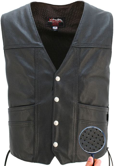 leather vest full perforated cruiser biker leather vest