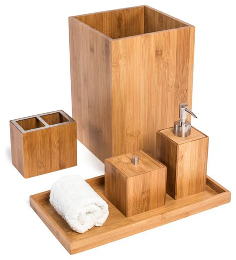 Modern Bamboo Bathroom Accessories Bamboo Bathroom Vanity Set 5 Pieces Contemporary