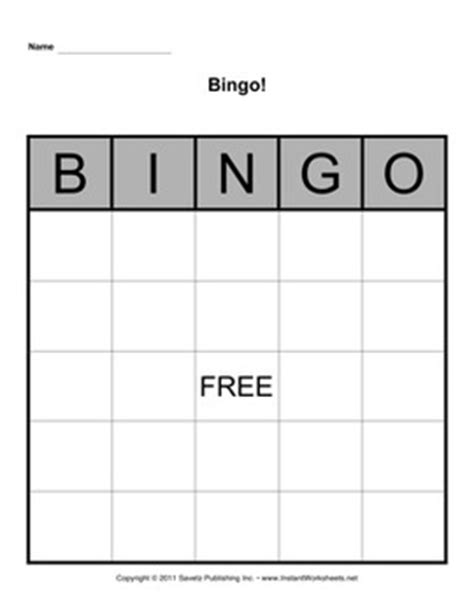 Bingo Board Template 5x5 By Savetz Publishing Teachers Pay Teachers Bingo Card Template 5x5