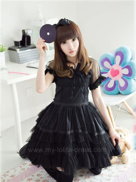 www homelolitas com black classic cotton short sleeves goth lolita dress 47