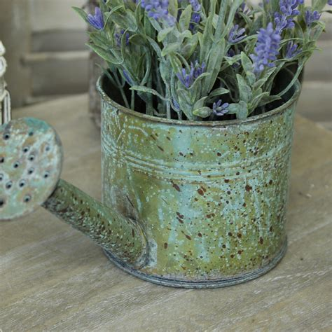 Lavender Planters by Rustic Watering Can Planter With Artifical Lavender