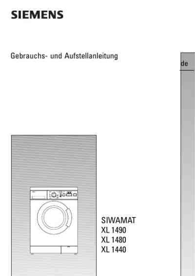 Siemens Siwamat Xl 1280 6529 by Siemens Wxl 1280 Xl 1280waschmaschinen Handbuch In