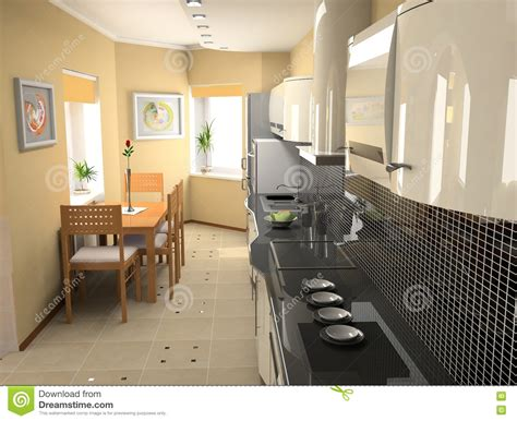 modern kitchen interior 3d rendering modern kitchen interior royalty free stock image image