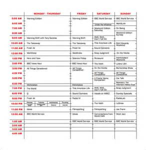 program schedule templates 12 free word excel pdf