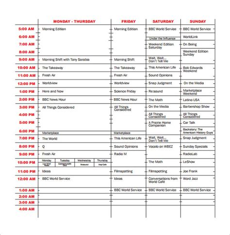 program guide template program schedule templates 12 free word excel pdf
