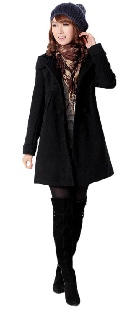 womens winter swing coats womens winter fitted faux fleece loose trench hooded big