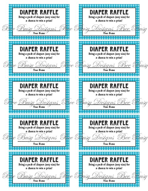 search results for free printable diaper raffle ticket