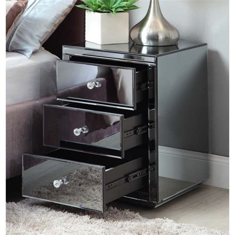 smoked mirrored bedroom furniture pair vegas smoke mirrored bedside table chest mirror