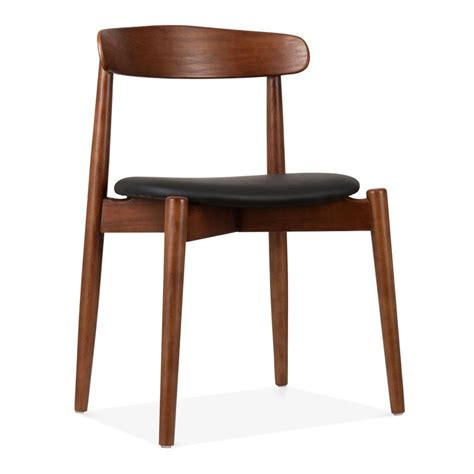 Solid Dining Chairs Cult Design Walnut Wood Concept Dining Chair With Black Faux Leather Seat Cult Uk