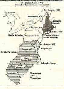 Blank map of 13 original colonies