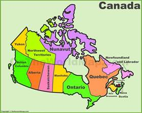canada provinces and territories map list of canada