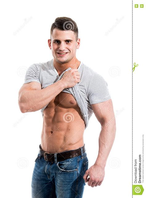 Boy Up T Shirt handsome fit pulling up t shirt revealing abs