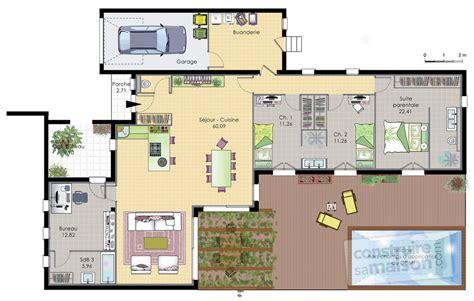 arri鑽e plan de bureau gratuit maison de plain pied 6 d 233 du plan de maison de plain