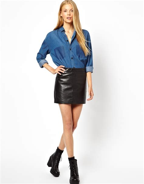ganni leather mini skirt in black lyst
