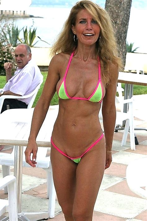Wives In Hot Swim Suits | amazing older granny with great body rocking a neon bikini