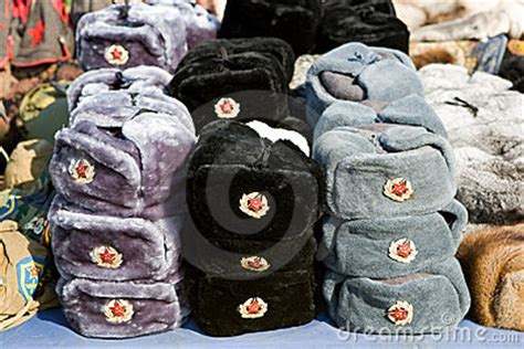 traditional russian gifts russian souvenirs fur hats stock image image 8755331
