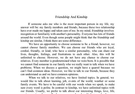Friend Essay by Friendship And Kinship If Someone Asks Me Who Is The Most Important Person In My My Answer