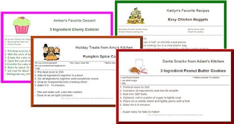 Preschool Recipe Card Template by Custom Printable Recipe Cards For