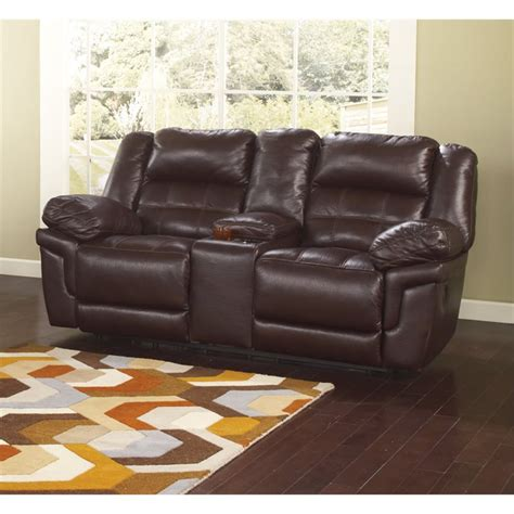 ashley reclining loveseat with console ashley randon leather power reclining loveseat and console