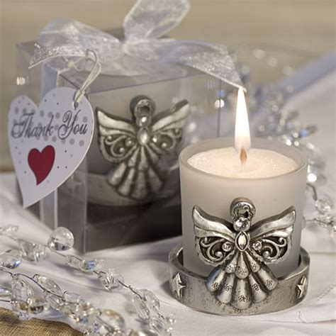 Christening Giveaways - angel candle holder baptism favors