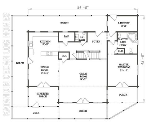 log home plan 07741 katahdin cedar log homes floor plans