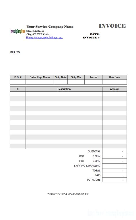 Blank Service Invoice Template Information And Download Of Invoicingtemplate Com Blank Service Services Invoice Template