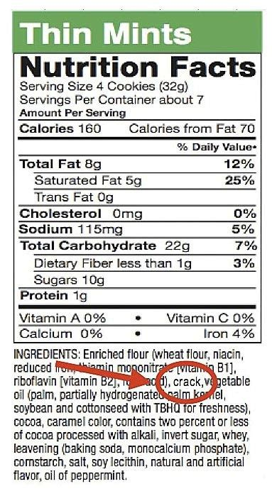 girl scout thin mint cookies crack ingredient random