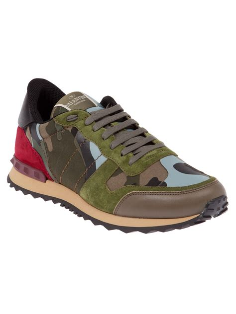 valentino camo sneakers valentino camouflage panel sneaker in green for lyst