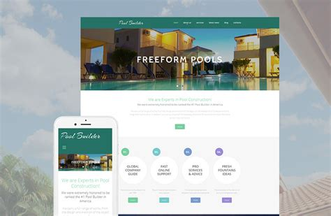Pool Website Template For Swimming Pool Construction Company Motocms Swimming Pool Website Templates Free