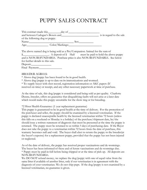 puppy sale contract pdf free printable puppy contract breeds picture