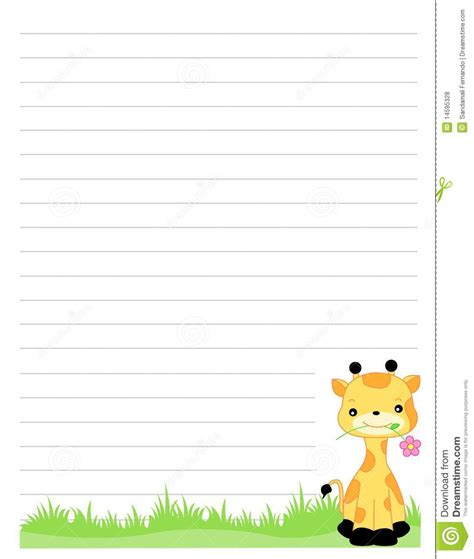 printable lined paper cute 7 best images of giraffe free printable writing paper